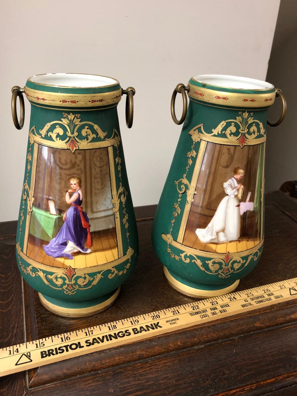 Pair of Old Paris Portrait Vases