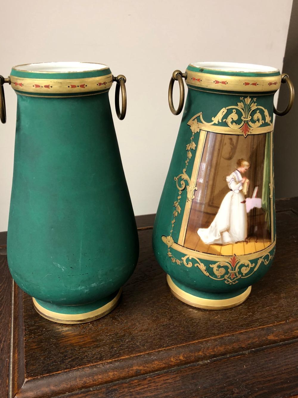 Lot 68: Pair of Old Paris Portrait Vases