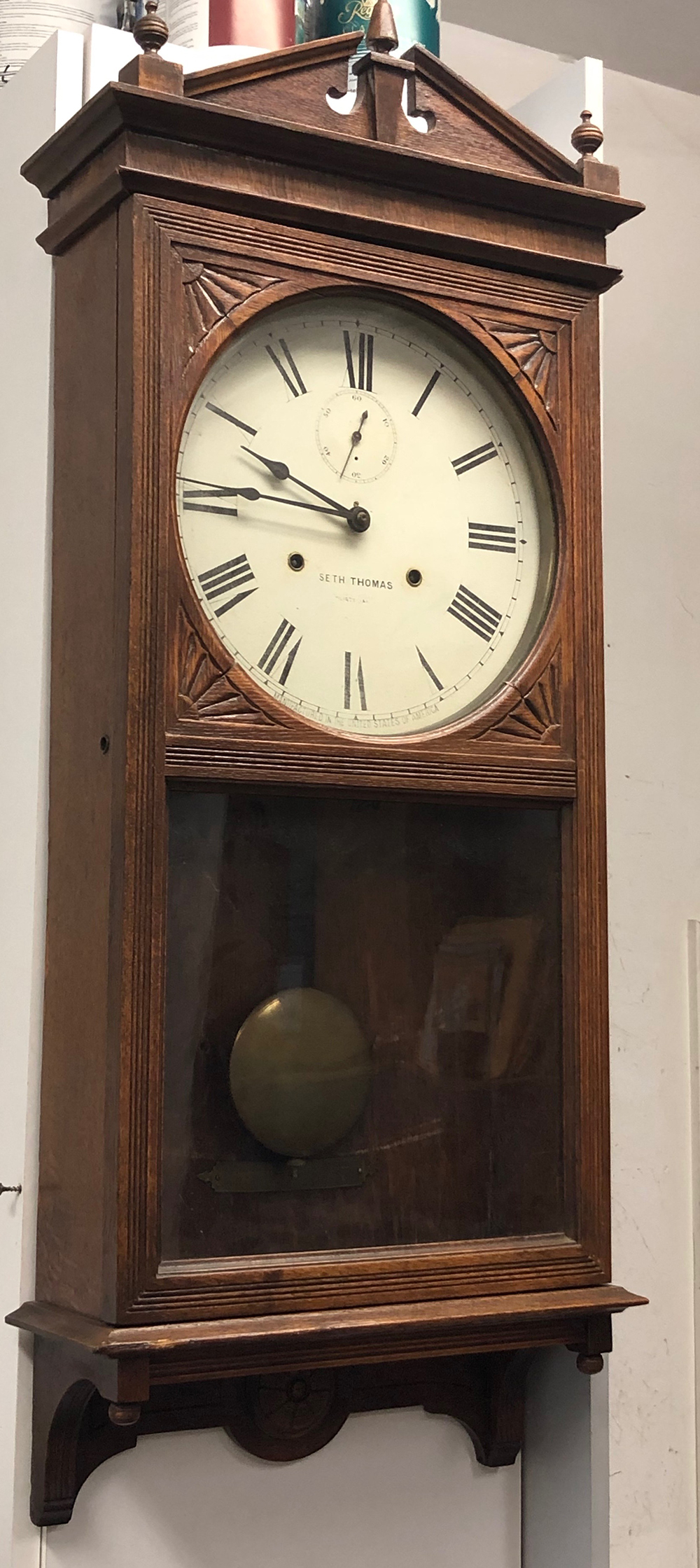 Lot 75: Seth Thomas Office 30 Day Regulator Clock