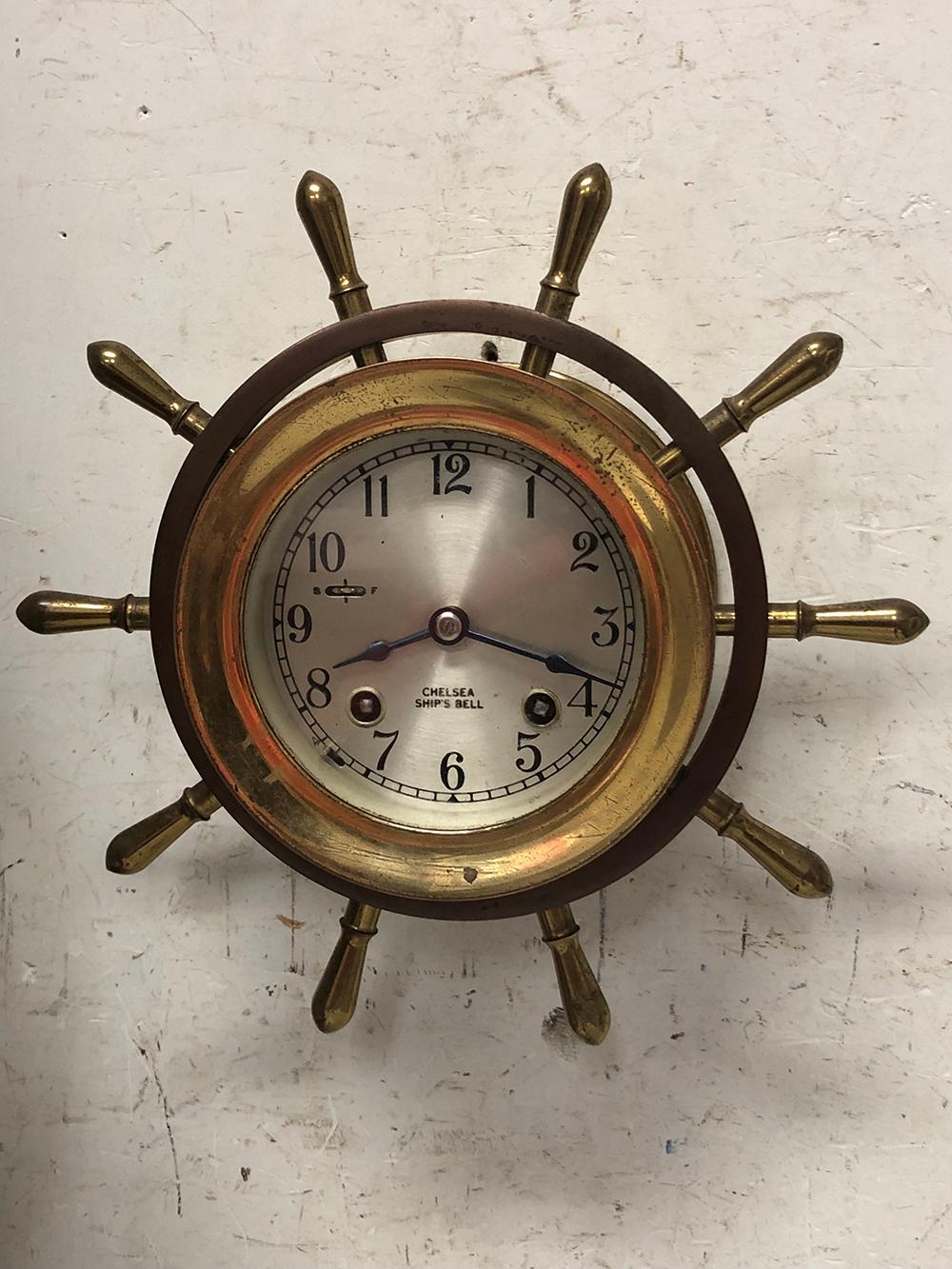 Chelsea Brass Ships Wheel Clock