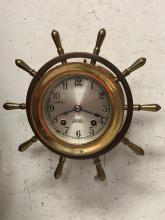 Lot 79: Chelsea Brass Ships Wheel Clock