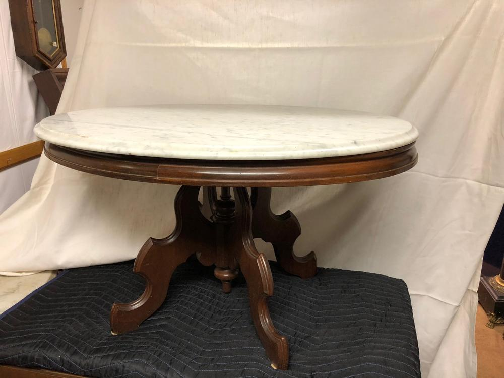 Lot 82: Walnut Coffee Table with Marble Top