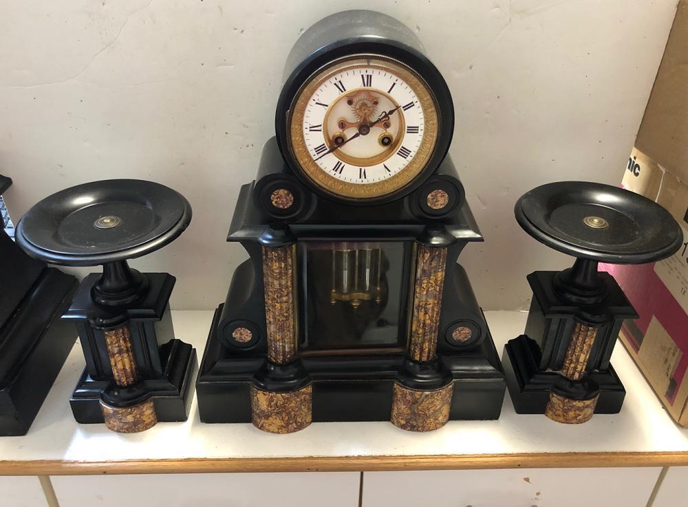 3 PIece Victorian Marble Mantel Clock Set