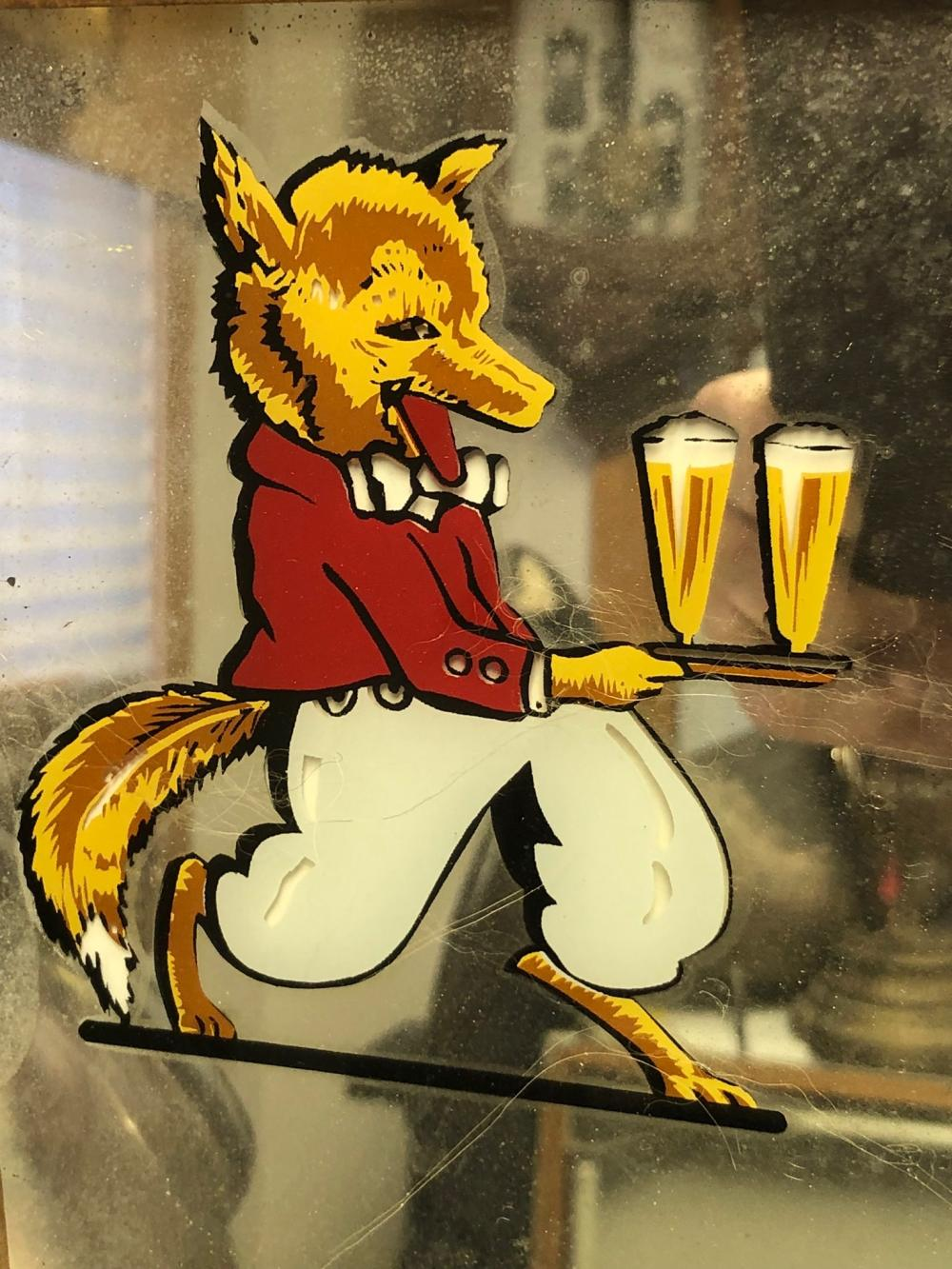 Lot 98: Red Fox Beer Mirror and Thermometer