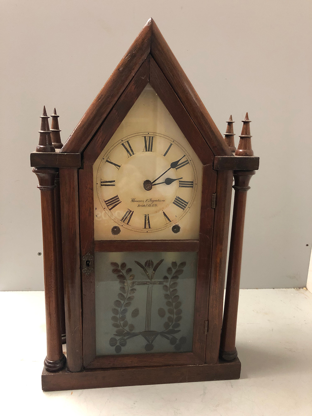 Brewster and Ingraham Double Gothic Steeple Clock