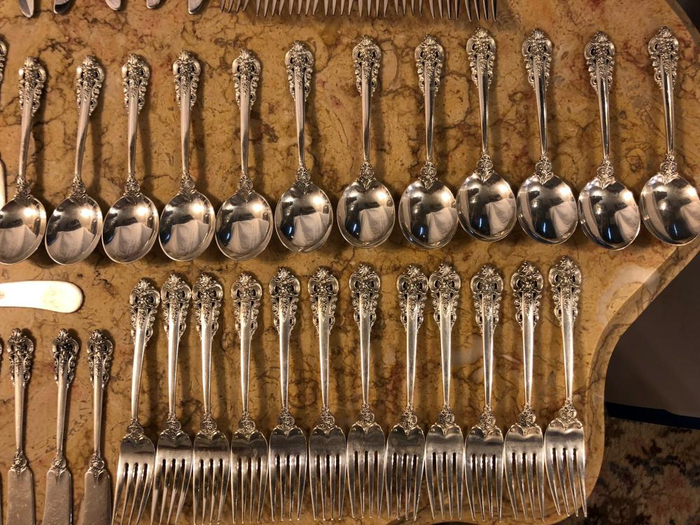 Lot 110: Wallace Grand Baroque Sterling Silver Flatware