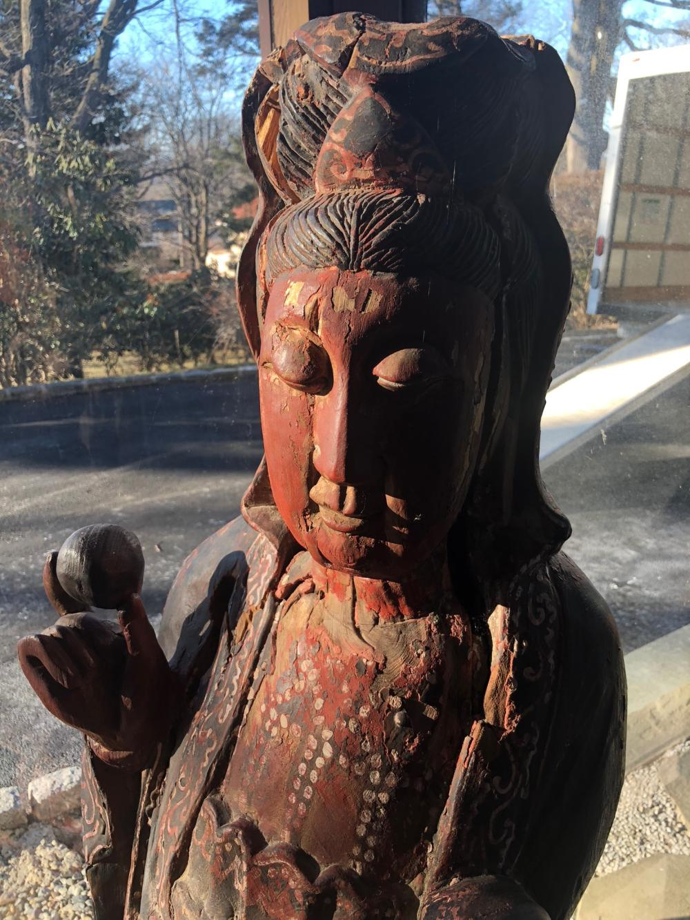 Lot 114: Asian Wooden Carved Statue