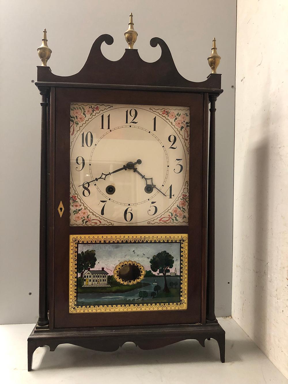 M & E Blakeslee Pillar and Scroll Clock