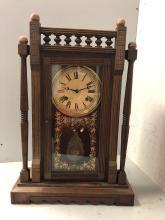 Lot 129: New Haven Walnut Parlor Clock