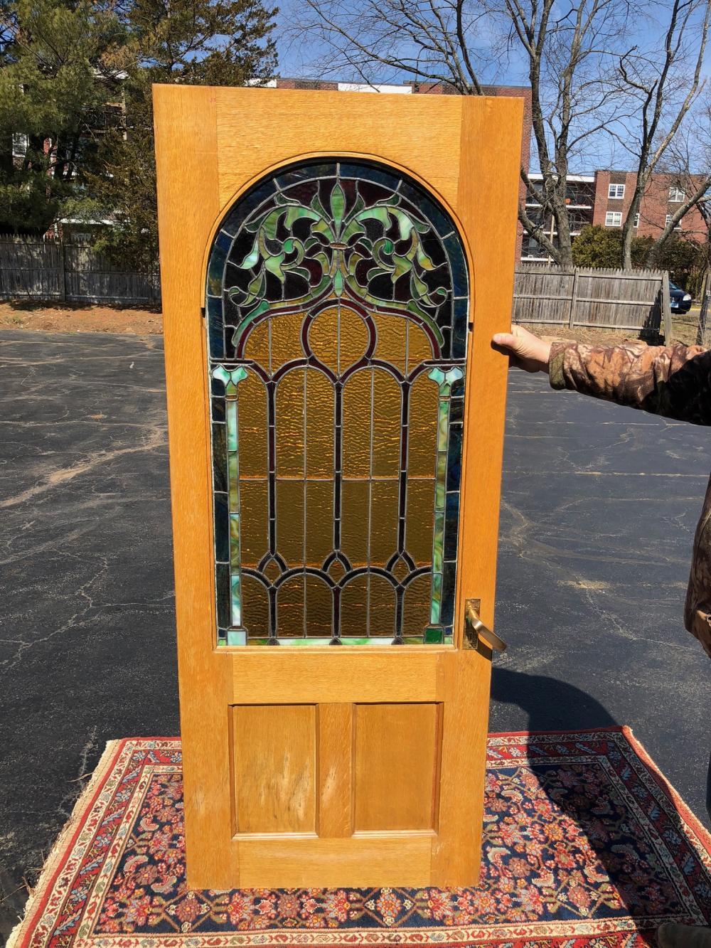 Antique Oak Leaded Glass Door