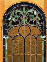 Lot 146: Antique Oak Leaded Glass Door