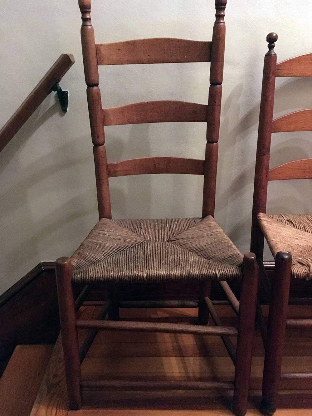 Lot 177: 2 Vintage Ladder Back Chairs