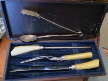 Lot 187: Bone Handled Silver Serving Set