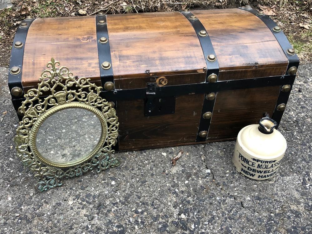Lot 190: Wooden Trunk, Etc.