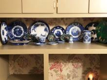 Lot 195: Estate Lot Blue Flow and Majolica