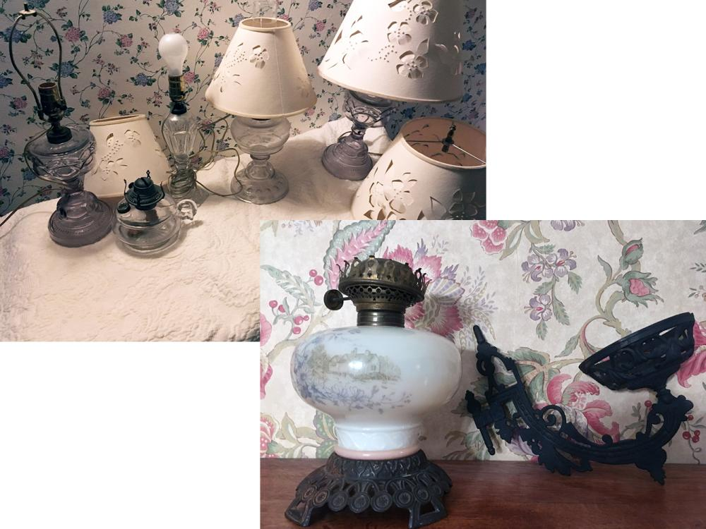 Vintage Glass and Oil Lamps