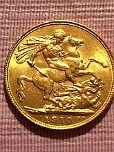 1910 Gold British Sovereign