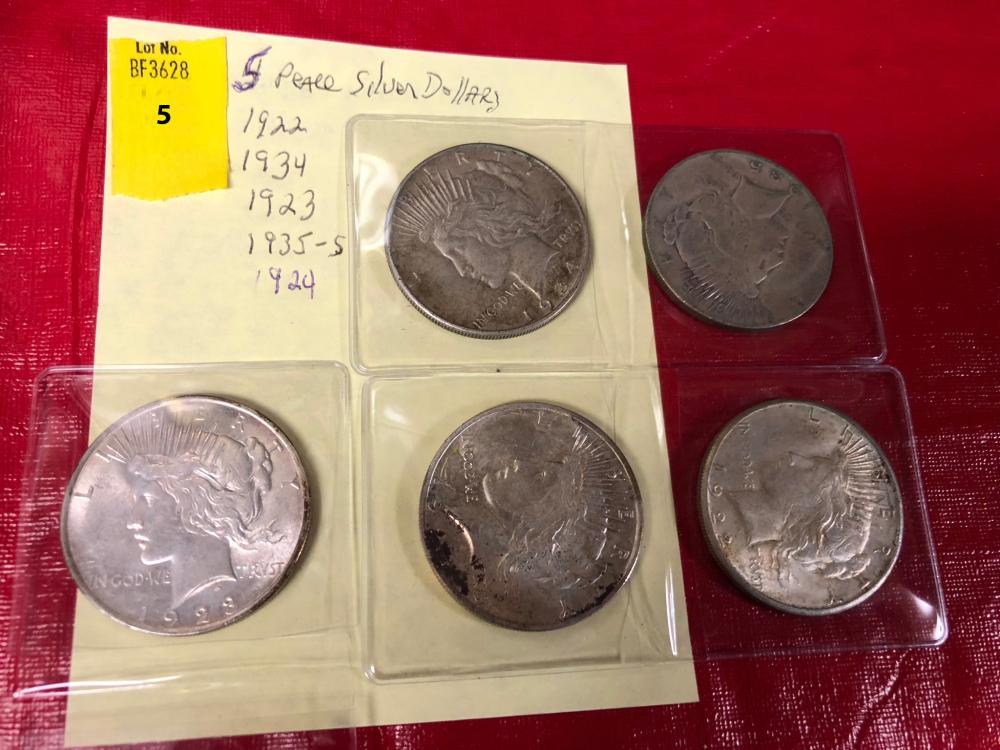 5 Silver Peace Dollars