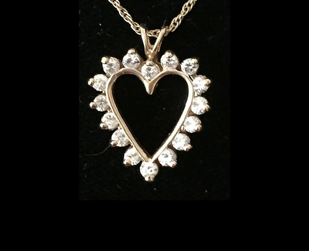 14kt Ladies Necklace with Diamond Heart Shaped Pendant