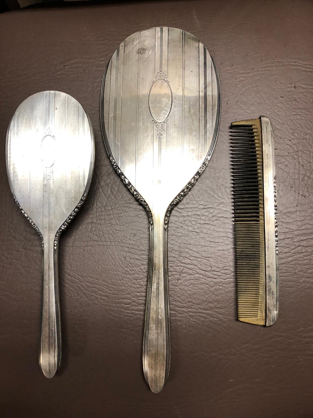 Ladies Sterling MIrror and Brush Set