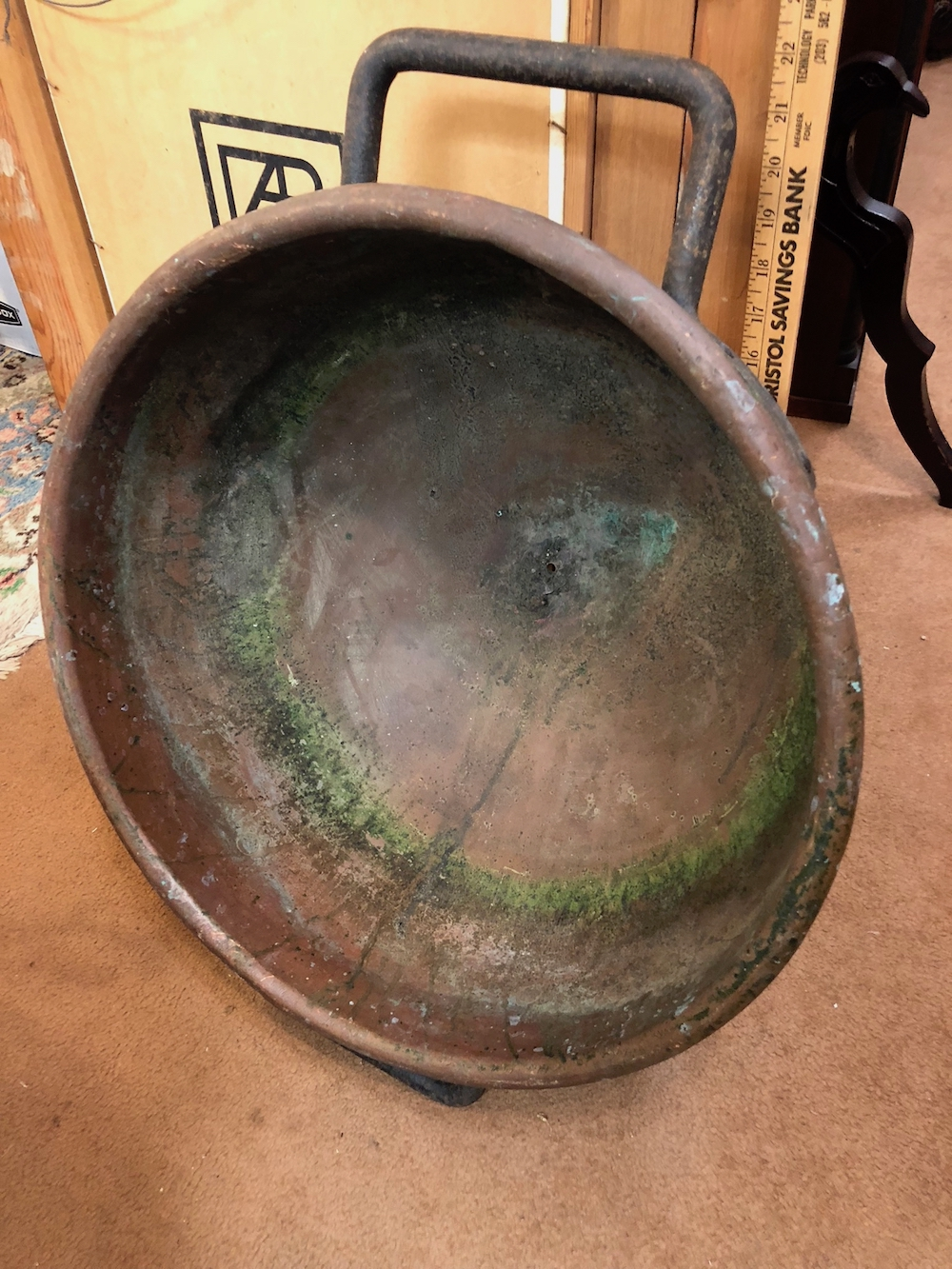 Antique Copper and Iron Candy Pot