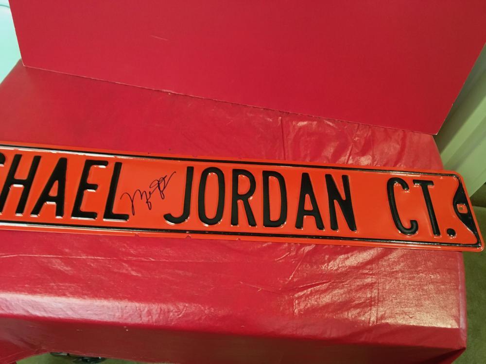 Autographed Michael Jordan Street Sign