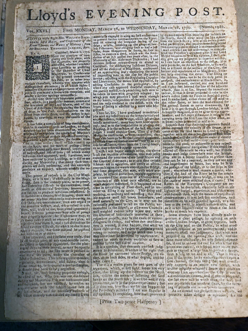 Lloyd's Evening Post, 1770