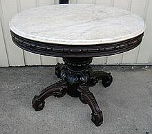Marble Top Oval Parlor Table