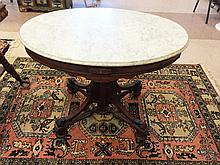 Victorian Oval Walnut Marble Top Parlor Table