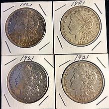 4 1921 Morgan Silver Dollars