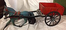 Early Cast Iron Toy Horse and Wagon