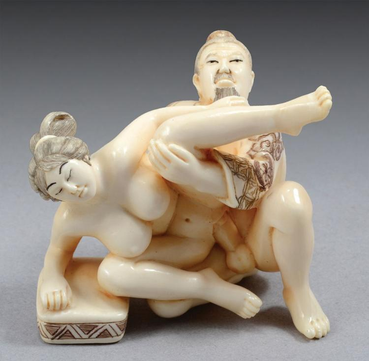 Japanese Carved Ivory Erotic Netsuke, Perhaps Meiji, Modelled With A Reclining Figure And Octopus