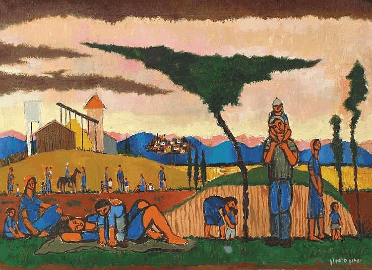 Yochanan Simon 1905-1976 Evening in the Kibbutz