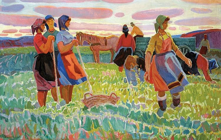 Gavriil Martynovich Gliuk 1912 - 1983 A Field with Workers,