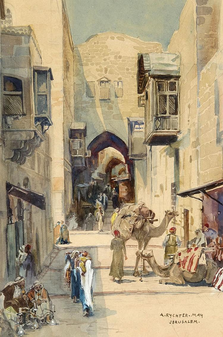 Anna Rychter May 1865 - 1955 An Alley in Jerusalem