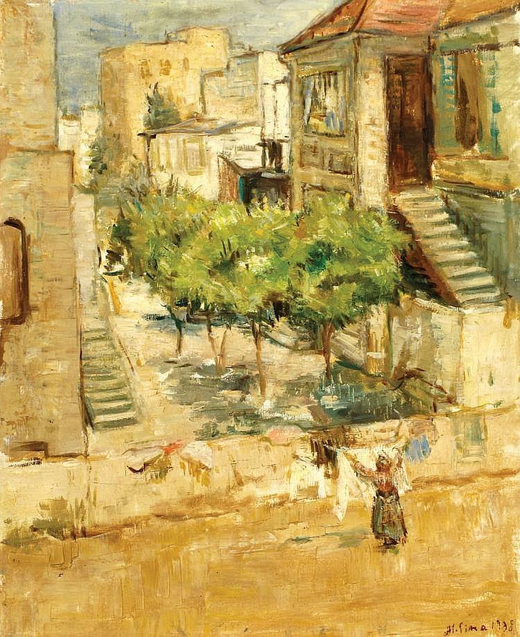 Miron Sima 1902 - 1999 Figures in Musrara, Jerusalem