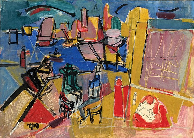 Avshalom Okashi 1916 - 1980 Figures in Acre Port
