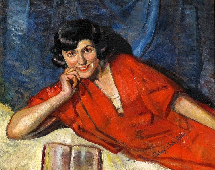 Iranyi Iritz Sandor (Hungarian School, 1890-1975), The Woman in Red