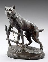 A METAL SCULPGURE AFTER CHARLES VALTON (1851-1918) IN THE FORM OF A MASTIFF