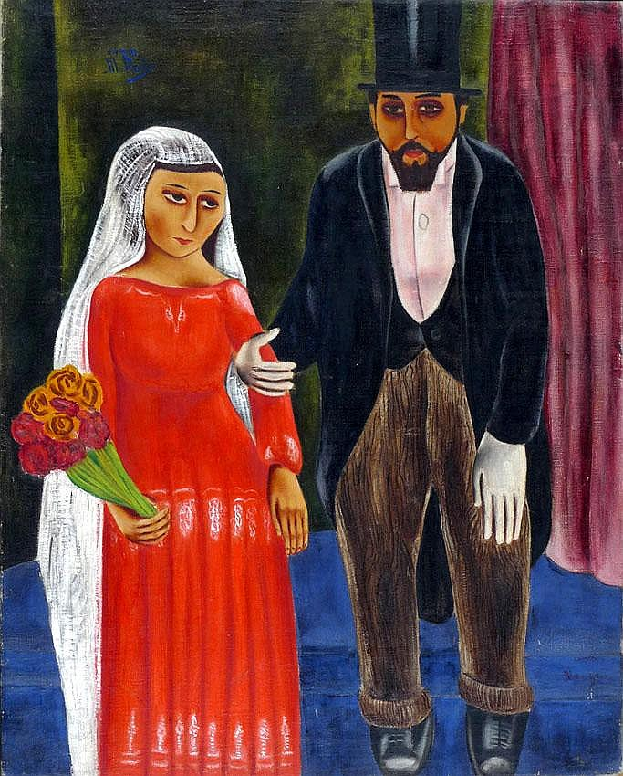 Moshe Mokady 1902 -1975 The Bride and her Father,