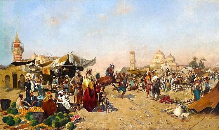 Tadeusz Ajdukiewicz 1852 - 1916 Market Scene, Oil