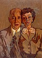 Benn Rabinowicz 1905 - 1989 Couple, Oil on canvas,,  Benn (1905), Click for value