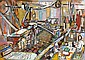 Yechiel Krize 1909 - 1968 The Factory, Gouache on, Yehiel Krize, Click for value