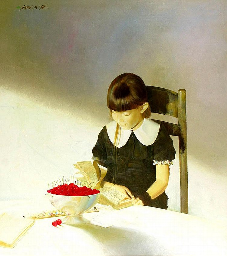 Michael Gorban b. 1956 Girl with Cherry Bowl, Oil
