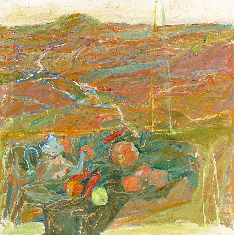 Eliahu Gat 1919 - 1987:  Still Life Against a Landscape