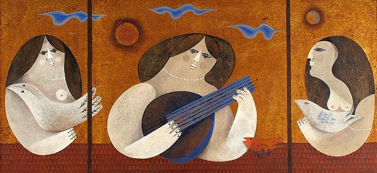 Sami Bris b. 1930:  Women Playing Instruments