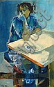 Ruth Schloss b. 1922:  Woman by the Table,, Ruth Schloss, Click for value
