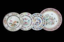 SIX CHINESE PORCELAIN DISHES AND A PLATTER