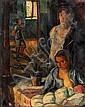 Vilmos Perlrott Csaba 1880 - 1955  A Family in the Room, Vilmos Perlrott Csaba, Click for value