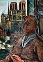 Vilmos Perlrott Csaba 1880 - 1955  Self-Portrait and Paris View, Vilmos Perlrott Csaba, Click for value